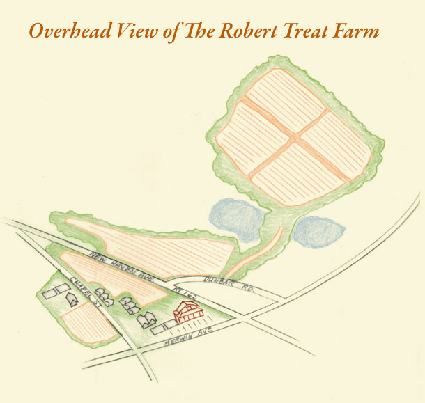 robert treat farm overhead map illustration